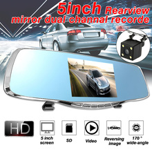 HD 1080 P 5 Автомобильный dvr видео регистрирующее устройство на зеркале заднего вида двойной объектив Dash камера с G-sensor ночного видения