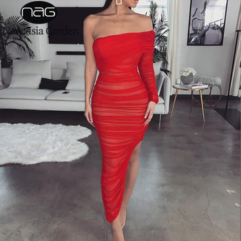 NewAsia Ruched Summer Dress Women 2019 New Sexy One Shoulder Long Sleeve Club Party Dress Red Mesh Side Split Bodycon Long Dress american living new red poppy draped ruched women s 12 sheath dress $69 400