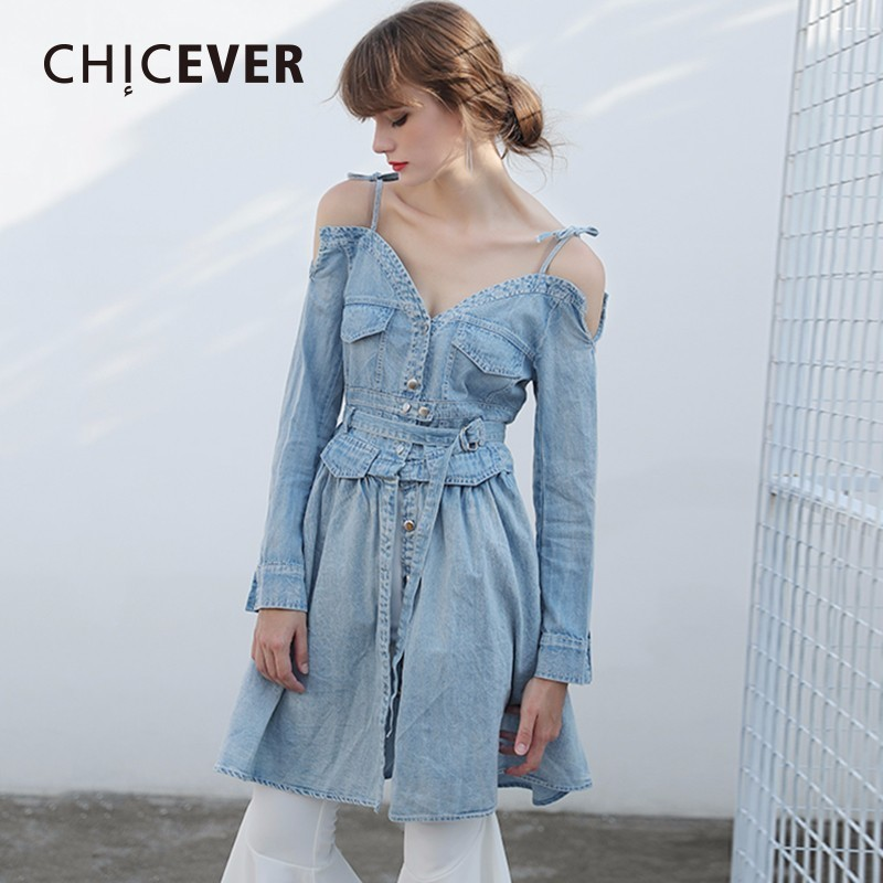 271a01eb191377 CHICEVER Sexy Off Shoulder Denim Dress Female Long Sleeve V neck Bandage  Women Dresses Autumn Clothes