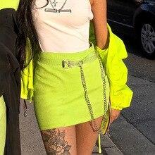 Fashion Womens Neon Mini Skirt Fluorescent Green/Yellow Bodycon Skirts High Waist Sexy Club Streetwear Miniskirt with Chain