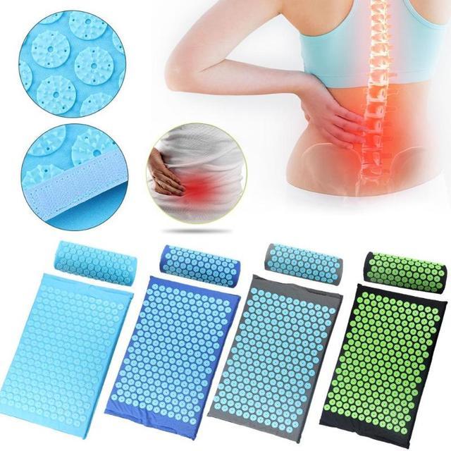 Acupressure massageador esteira almofada aliviar relaxamento corpo pé para trás estresse dor ponto esteira acupressure yoga esteira com travesseiro