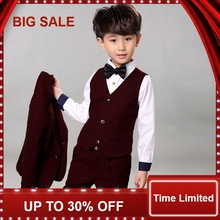 4pcs Boys Suits for Weddings Cotton Plaid Blazer+Vest+Pants+Shirt Kids Clothing Sets Children Formal Suit 4pcs plaid