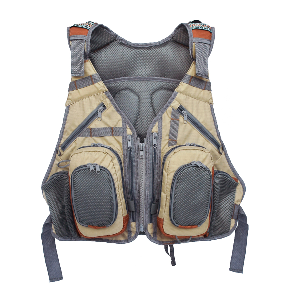 Fishing Vest Life Clothing Detachable Breathable Multi Pocket Breathable Mesh Fly Fishing Vest Pack Waistcoat Jacket