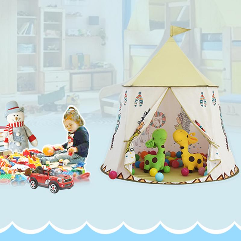 123x116 cm enfants tente maison Portable princesse château présent accrocher drapeau enfants tente de tipi jouer tente cadeau d'anniversaire