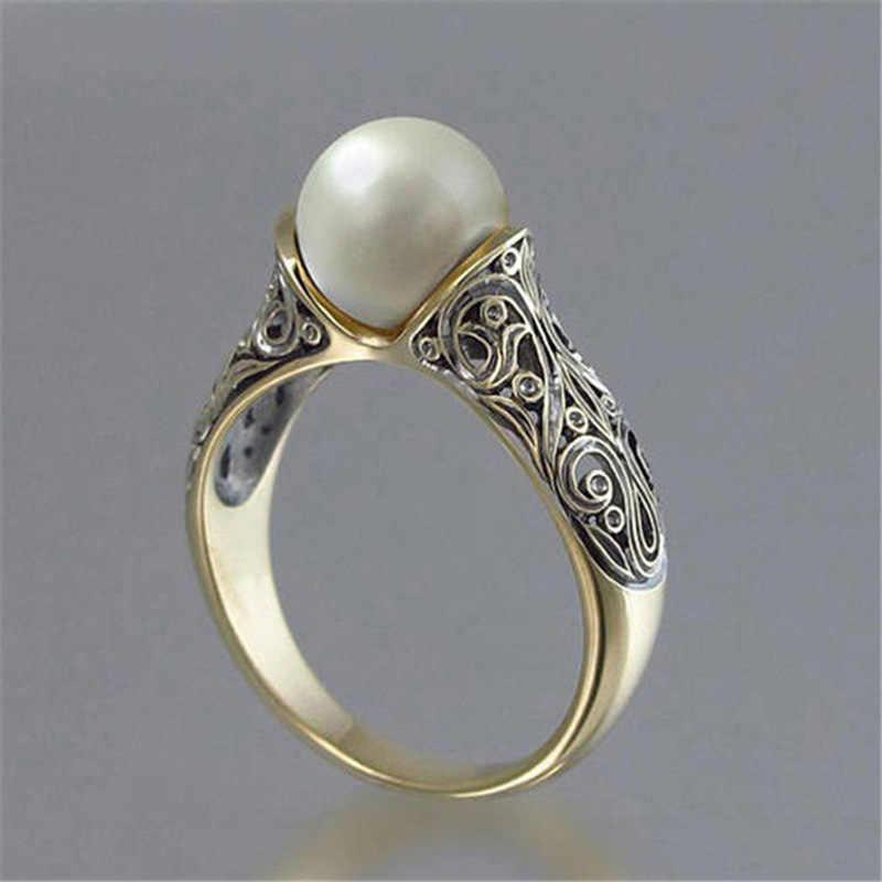 แหวนมุกเครื่องประดับเครื่องแต่งกายเครื่องประดับ king of the ring ให้ของขวัญผู้หญิงสแตนเลส ringen B2440
