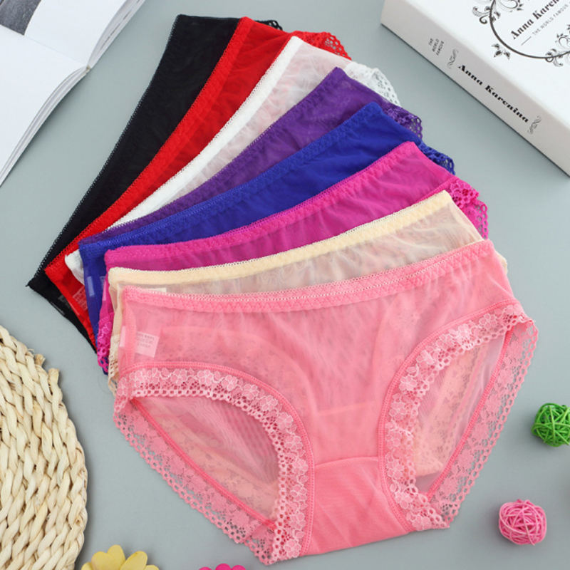 LNRRABC 8color  full beautiful lace Womens Sexy lingerie Thongs G-string Underwear Panties Briefs Ladies ropa interior femenina