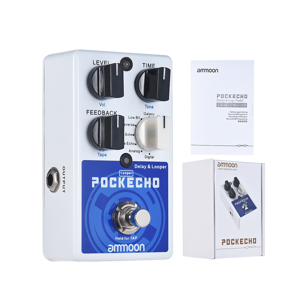 ammoon POCKECHO Delay Looper Guitar Effect Pedal 8 Delay Effects Max 300s Loop Time Tap Tempo
