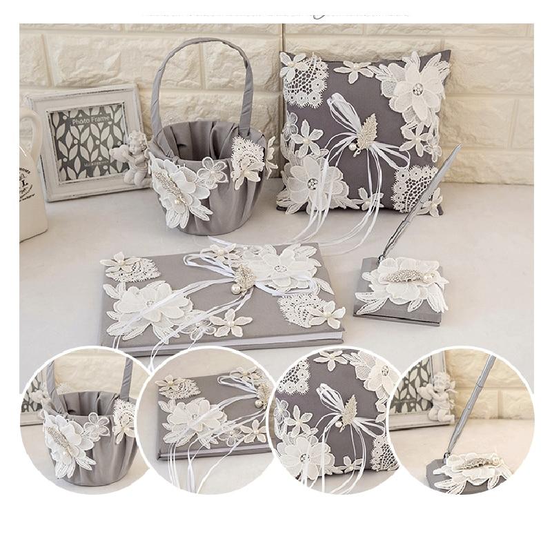 4 pièces/ensemble haut de gamme Vintage dentelle mariage fleur panier & anneau oreiller & livre d'invité & stylo ensemble pour décorations de mariage fournitures de fête - 3