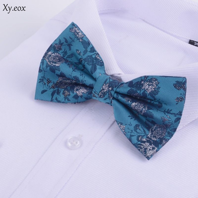 Business Men's Suit Shirt Accessories Bow Double Pleat Widened Peacock Blue Green Pattern Bow Tie