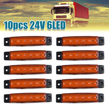 10pcs Amber Yellow 24v 6led Side Marker Indicators Lights Lamp Car Truck Trailer