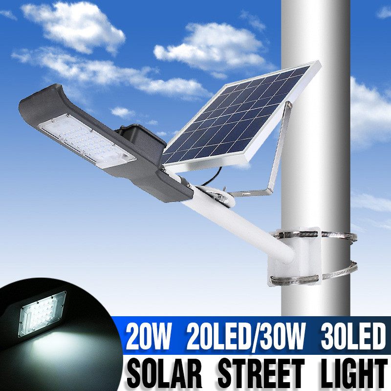 Smuxi 20/30W Outdoor Solar Street Light with Pole Light Sensor+Remote Control Waterproof Solar Floodlight for Yard Wall GardenSmuxi 20/30W Outdoor Solar Street Light with Pole Light Sensor+Remote Control Waterproof Solar Floodlight for Yard Wall Garden