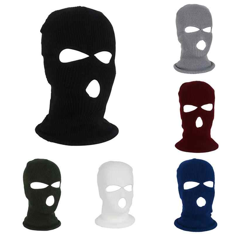 4695ddf039c Full Face Cover Mask Three 3 Hole Balaclava Knit Hat Winter Stretch Snow  mask Thermal Ski