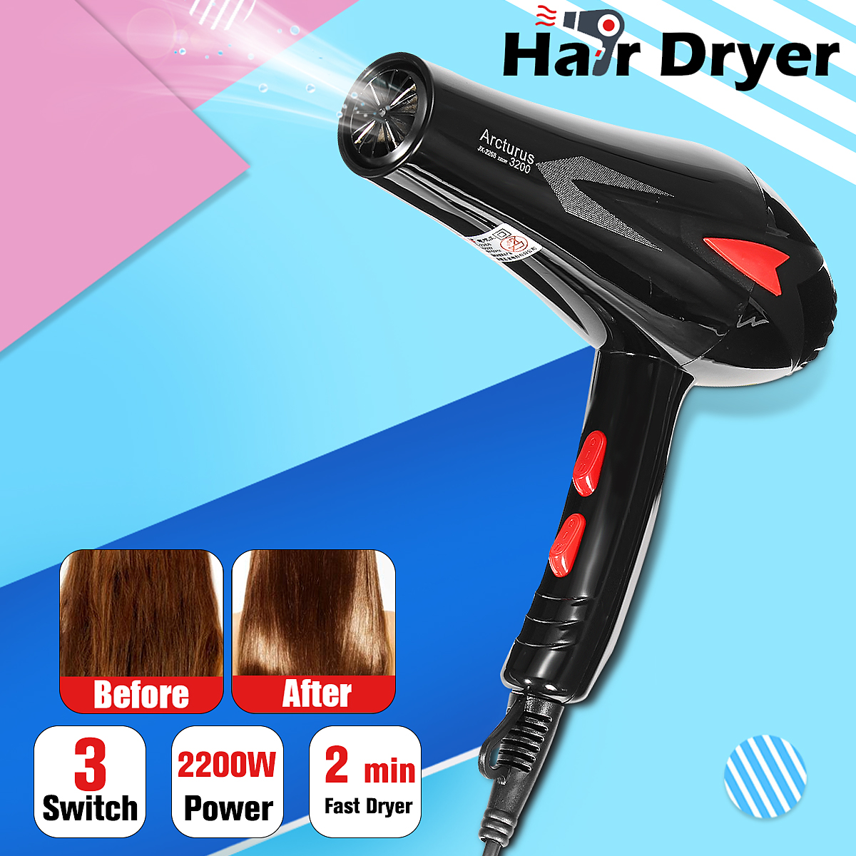 цены AU Plug Professional Style Hair Dryer 2200W 3 Heat 2 Speed Settings Concentrator Nozzle Constant Temperature Quick Accessories