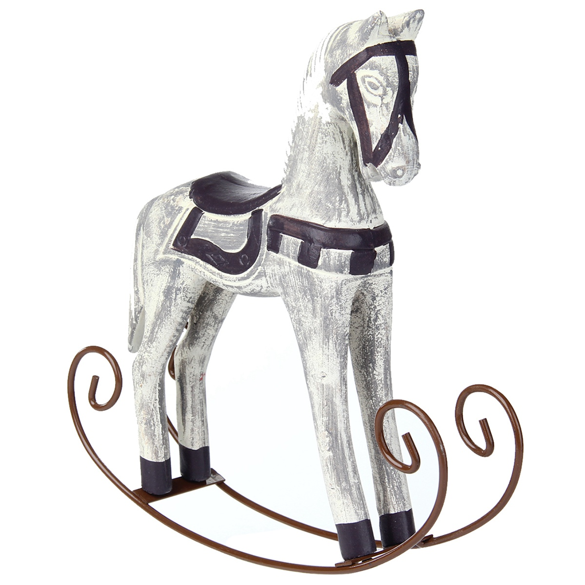 LBER Modern Europe Style Trojan Horse Statue Wedding Decor Wood Horse Retro Home Decoration Accessories Rocking Horse Ornament