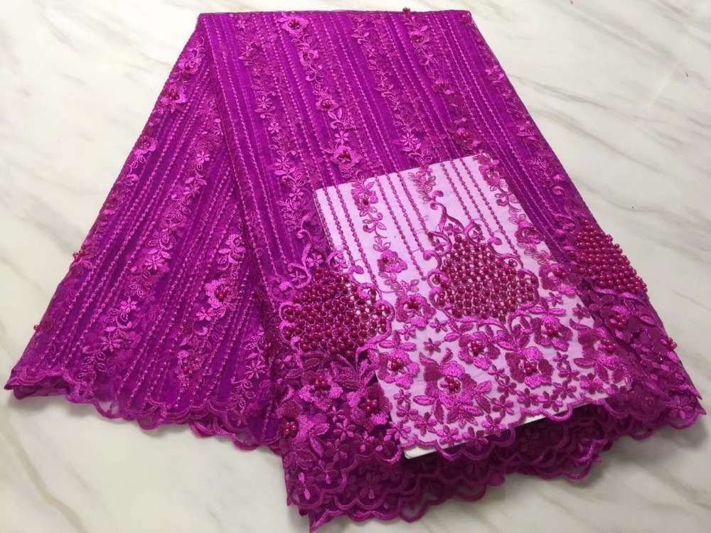 Embroidered Tulle Fabric With Beads High Quality African Swiss Lace Fabric For Party Sewing Material Aso