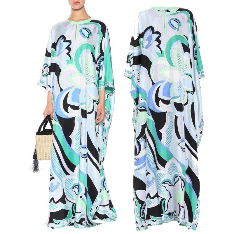 New Women s Bohemian Extended Fashion Printed Stretch Knitted Dress long Dress