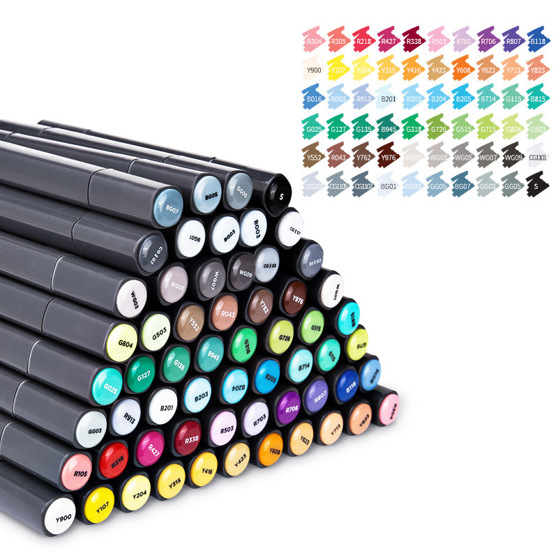 60 Colors Black Alcohol Based Art Markers Dual Head Sketching Brush Pen For Drawing Manga Design School Office Art Supplies60 Colors Black Alcohol Based Art Markers Dual Head Sketching Brush Pen For Drawing Manga Design School Office Art Supplies