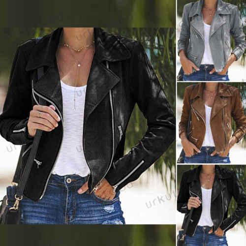 Chaqueta de cuero para mujer, abrigos con cremallera para motociclista, abrigo corto casual, moda 2019, nuevo, ceñido para mujer