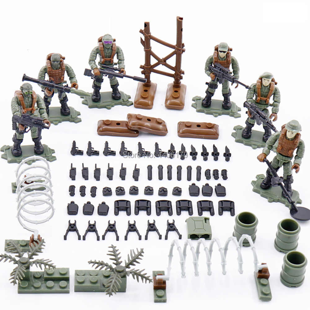 hot LegoINGlys military WW2 Special forces Jungle attack war MOC Building Blocks model Giant figures weapons bricks toys gift