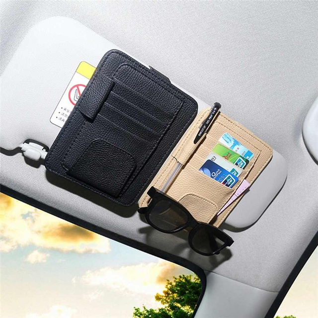 3 Colors PU Leather Car Sun Visor Glasses Clip Card Pen Holder Storage Driver License Package Universal Auto Card Package Holder