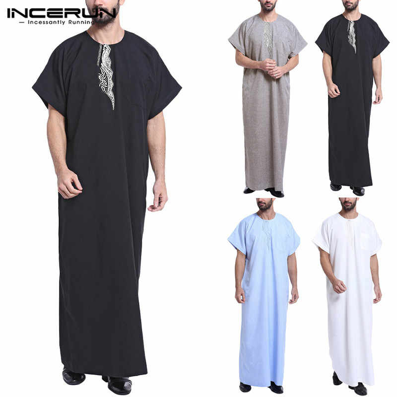 2019 Формальные индийская одежда мужская одежда Loungewear мусульманский халат платье Lounge Саудовской Арабский исламский Thobe кафтан короткий рукав