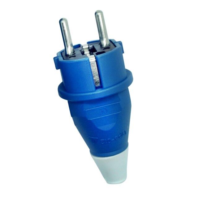 Phích Cắm EU 4000 W 16A Ổ Cắm Bộ Điều Hợp Chống Thấm Nước IP54 Tròn 2Pin Điện Nam Đầu Cắm Schuko To Rewireable Ổ Cắm