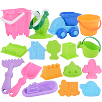 17Pcs/set Beach Sand Toys Sand Water Seaside Soft Plastic Bucket Shovel Sand Play Set for Children Outdoor Fun Random