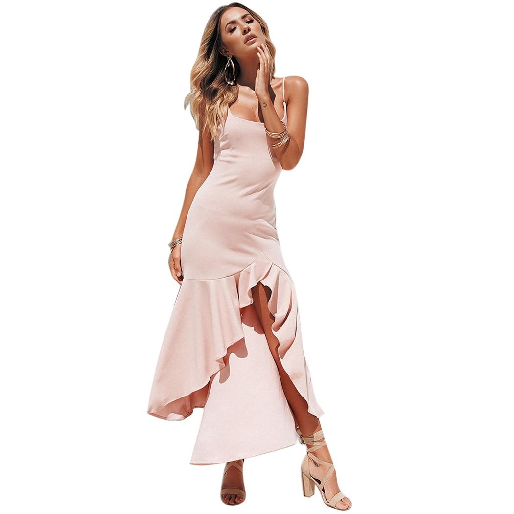 5f716bbf88d81 US $10.88 40% OFF|Sexy Spaghetti Strap Women Dress Bodycon Irregular  Ruffles Split Summer Maxi Dress Elegant Party Club Long Dresses Vestidos-in  ...