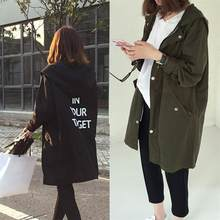 Korean Fashion England Style Spring Autumn Loose Type Jacket Outwear Letter Printed Long Style Female Jacket Coat With Zipper 37(China)