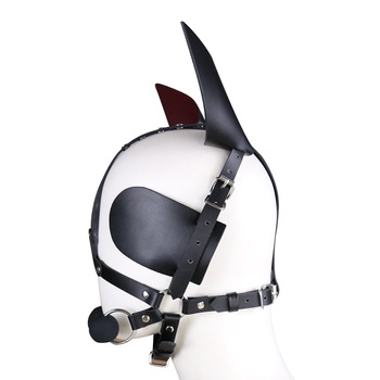 Genuine Leather SM Headgear Eye Mask Mouth Gag Plug Bondage Restraint Role Play Couple Game Exotic Adult Slave BDSM Sex Toy 2