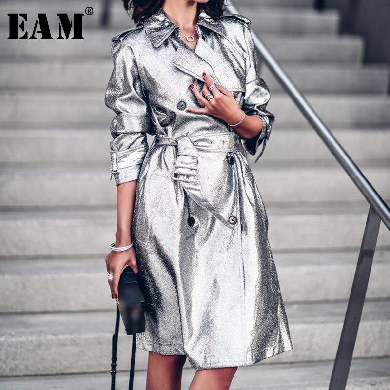[EAM] 2019 Весна женщина стильный серебряный цвет с длинным рукавом Turn-Down Воротник Высокая талия Длинные свободные регулируемые талии пальто ...