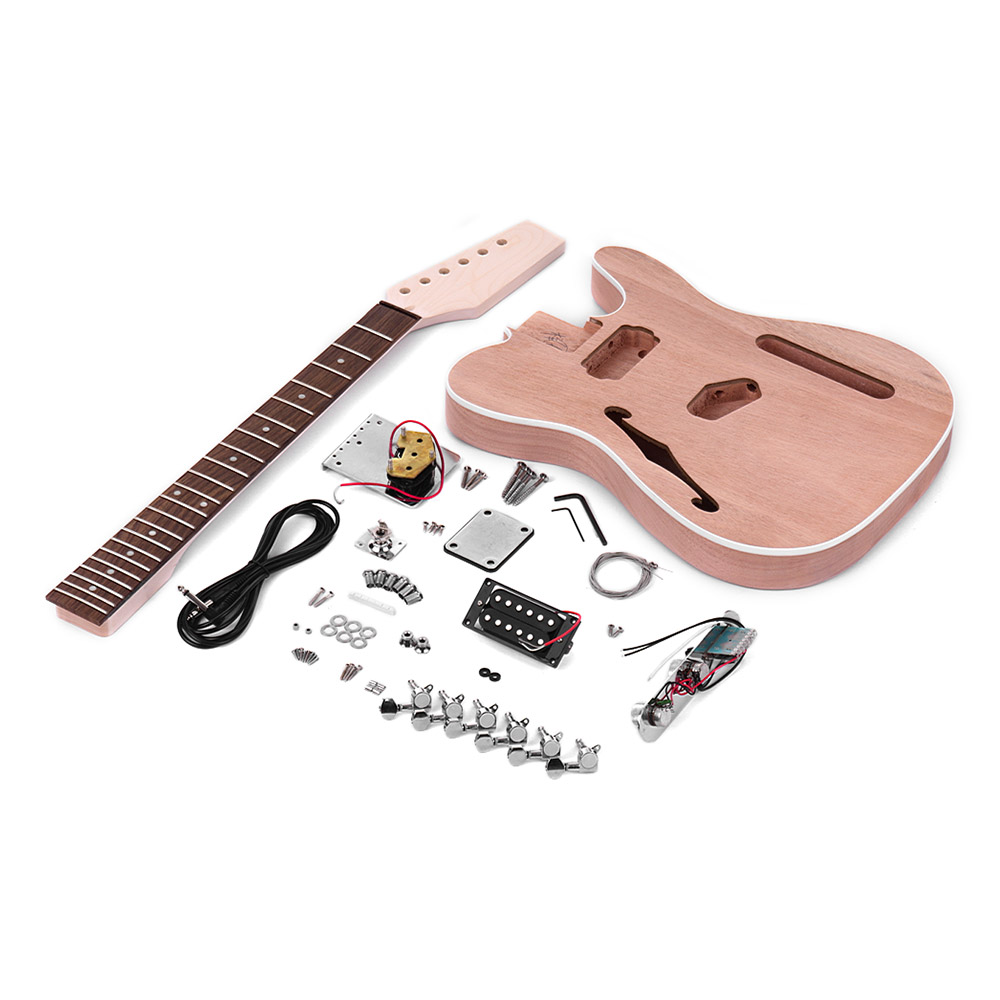 Muslady TL Tele Style Unfinished Electric Guitar DIY Kit Mahogany Body with F Soundhole Maple Wood