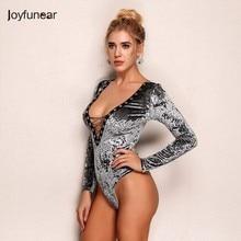 Joyfunear Autumn Long Sleeve Sexy Velvet Bodysuit Women Elegant rompers womens jumpsuit 2018 Lace up Leotard