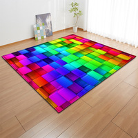 Nordic Style 3D Geometric Colour Pattern Carpets for Living Room Bedroom Large Size Rugs Tea Table Rectangle Antiskid Floor Mats