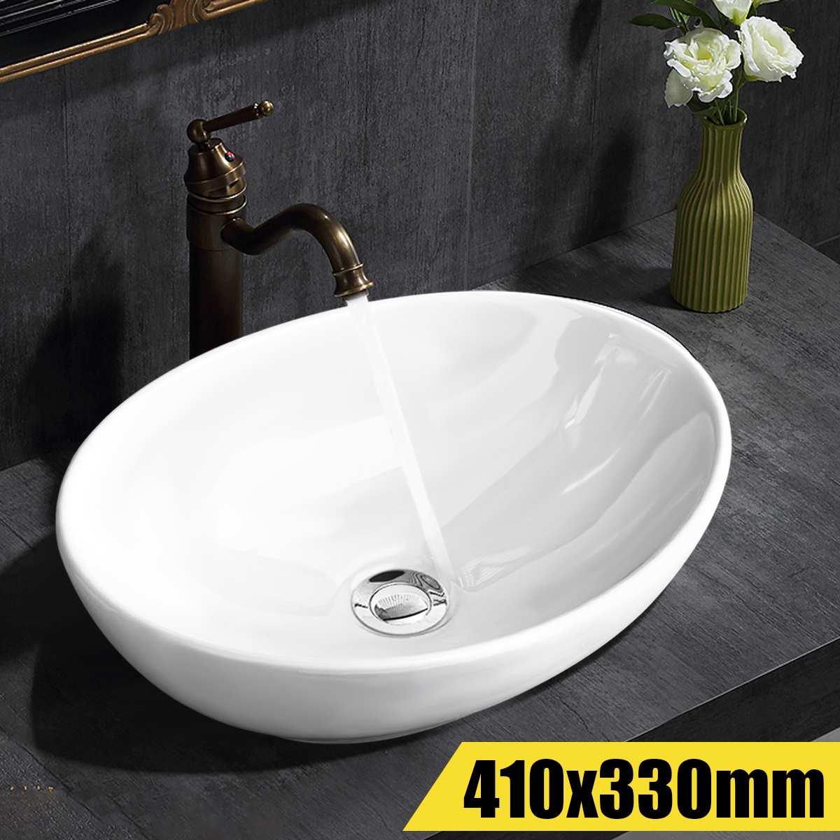Xueqin 16 Pouces Ovale Bol En Céramique Salle De Bains Vanity Évier Blanc Artistique Bassin Robinet Moderne Style Lavage évier de salle de bain