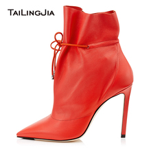 Latest Caramel High Heel Pointed Toe Booties Ankle Drawstring Women Heeled Red Ankle Boots Ladies Spring Autumn Shoes 2019 ladies stretch cloth thin high heel ankle boots fashion slip on pointed toe booties women comfort spring autumn shoes black