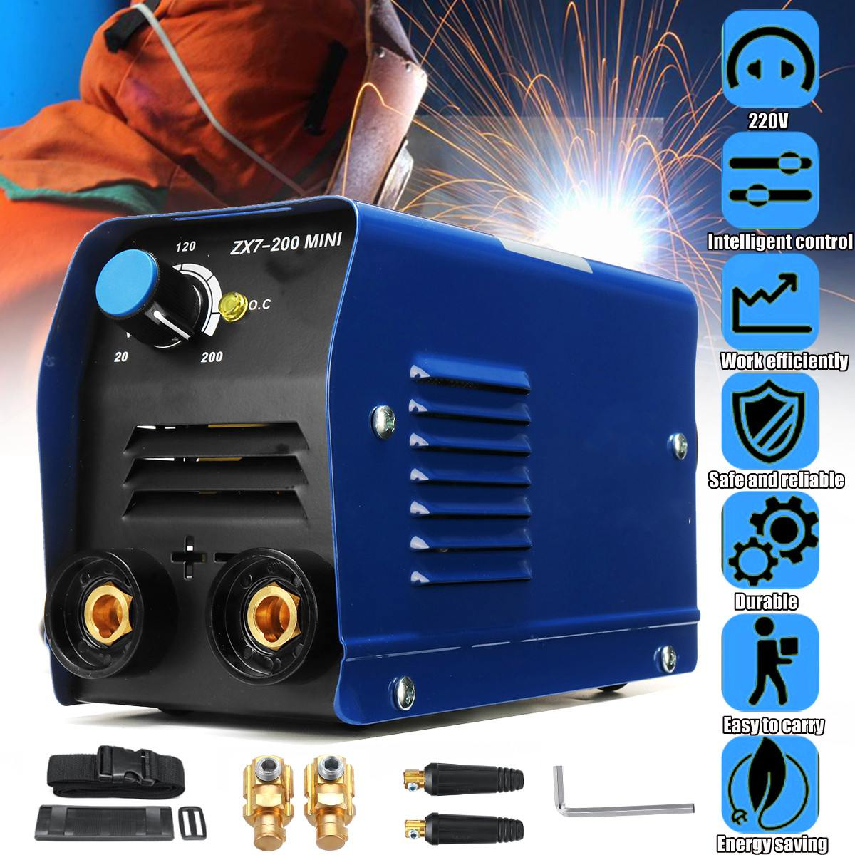 220V 200A MMA ARC Welding Machine IGBT Inverter Stick Welder W// MASK 14PCS