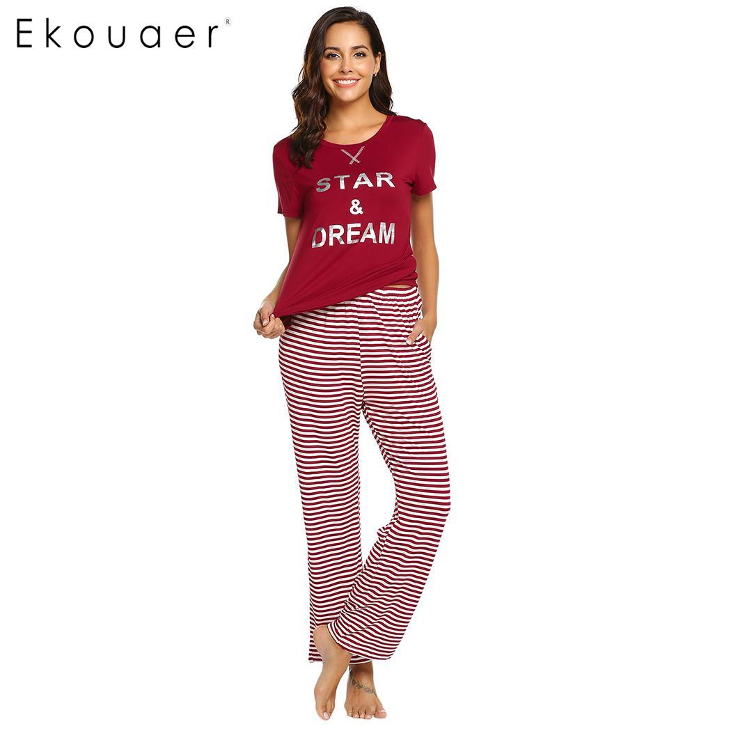 Ekouaer Women Nighties   Pajamas     Sets   Casual Sleepwear Short Sleeve Letter Print Top Long Strips Pants Home Clothing