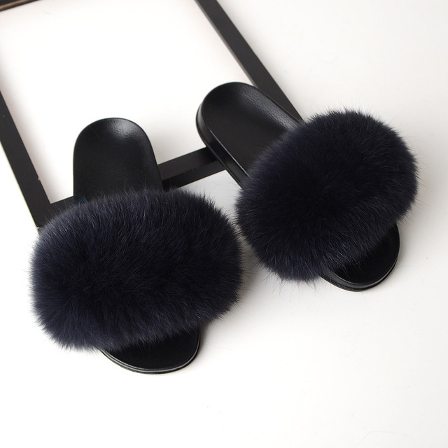 SARSALLYA Fur Slippers Women Real Fox Fur Slides Home Furry Flat Sandals Female Cute Fluffy House Shoes Woman Brand Luxury 2019 3