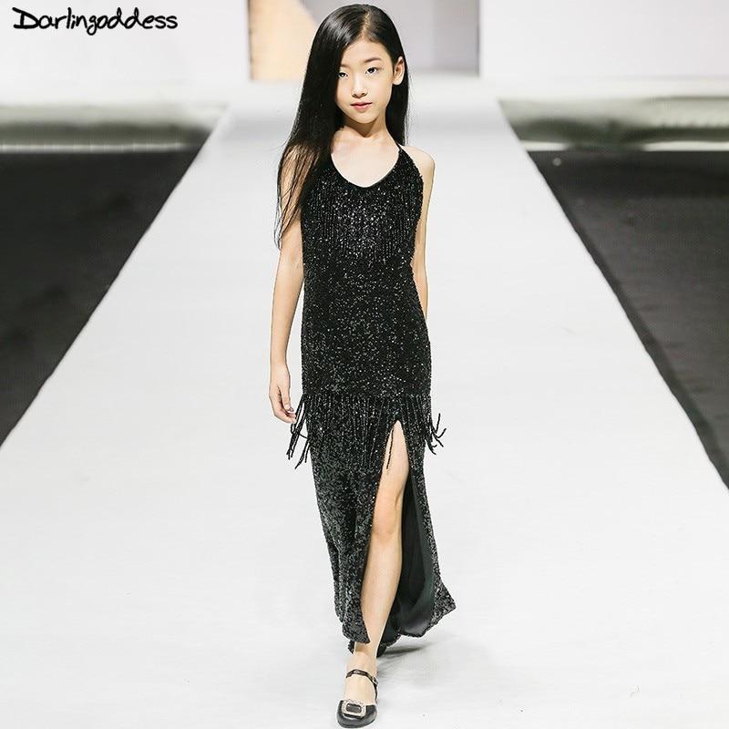 Luxury Black Flower Girl Dresses For Weddings Little Kids Long Pageant Dresses First Communion Dresses For Girls Evening Gowns