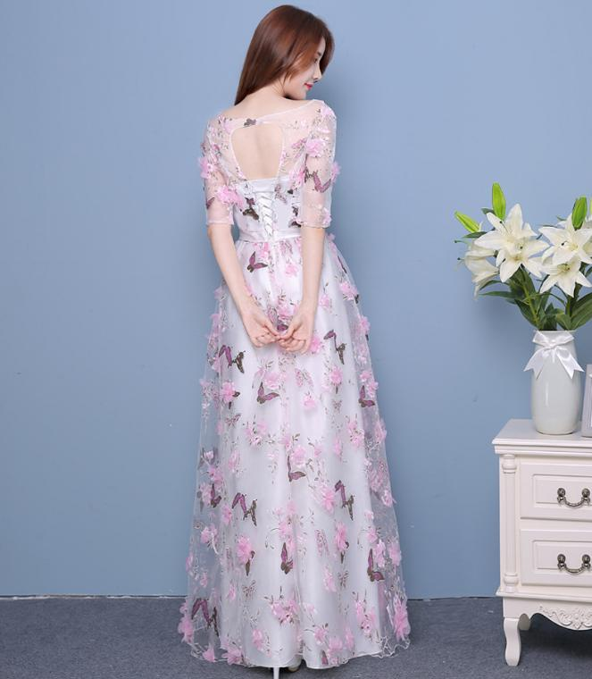 BANVASAC Illusion O Neck Lace Flowers Appliques Long Evening Dresses Party Bow Sash Half Sleeve Backless A Line Prom Gowns in Evening Dresses from Weddings Events