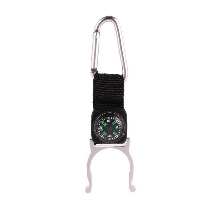 Portable water bottle buckle outdoor travel tools Aluminum alloy D-type beverage clip Fast hanging cassette with compass