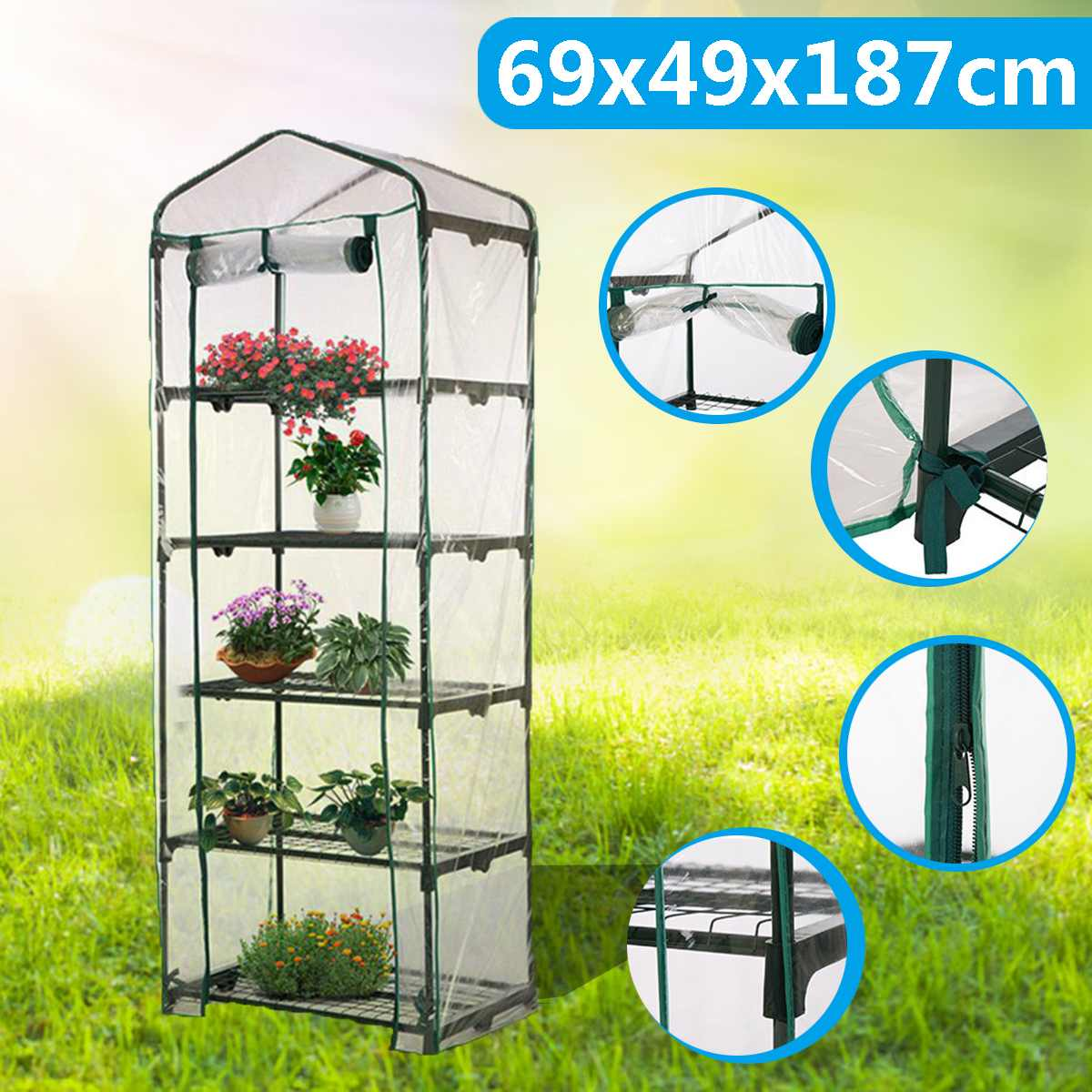 Methodical Garden Greenhouse Hot Plant House Shelf Apex-roof 5-tier Shed Clear Pvc Cover Keep Warm Good Breathability 69x49x187cm Removable High Quality And Inexpensive Garden Greenhouses