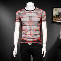 Casual Striped Printing Tee Shirt Fashion Streetwear T Shirt Men Translucent Mesh T-shirt Male Short Sleeve Camisetas Hombre
