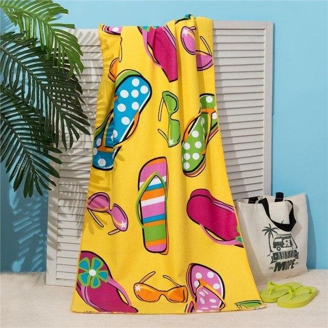 Полотенце пляжное Этель 70*140 см, Сандали на жёлтом, микрофибра 250гр/м2   3936324