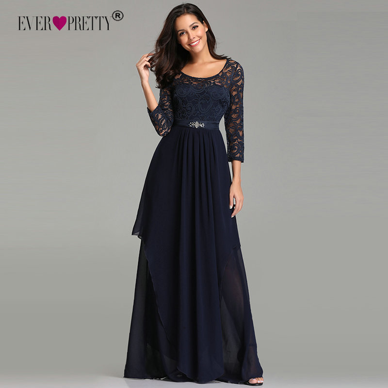 Ever Pretty   Prom     Dresses   Long Ever Pretty EZ07716 Elegant Beading Sash Long Sleeve Navy Blue Winter Lace   Dress   Party Formal