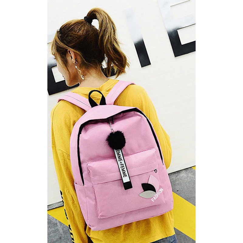 ... Men Women Travel Canvas Backpack Rucksack Camping Laptop Hiking School  Book Bag Hairball Letter Ladies Fashion ... e212f986109c4