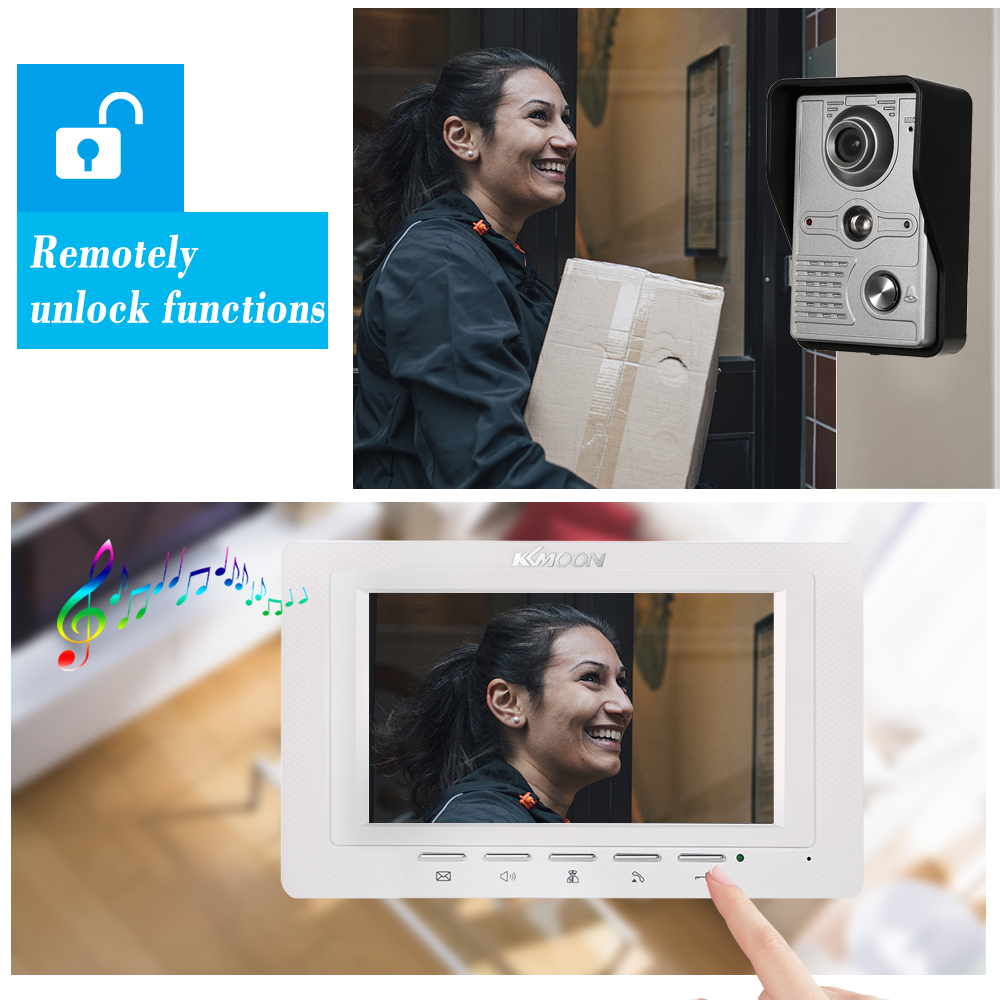 OWSOO 7 inch Wired Doorbell intercom with Rainproof Camera and Remote Unlock 4