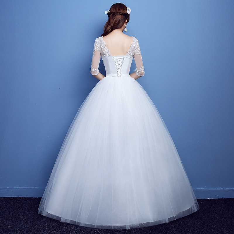 Elegant Half Sleeve Lace Appliques Wedding Dress 2019 O-neck Lace Up Beading Wedding Gowns Cheap Crystal Robe De Mariee
