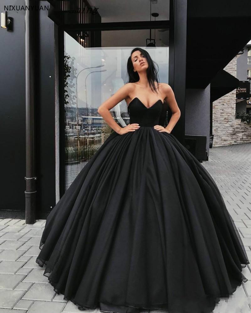 Vintage 2019 Gothic Black Wedding Dresses New Ball Gown Sweetheart Simple Bridal Dress Country Vestido De Noiva
